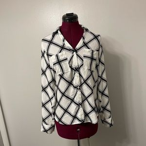 Express Black and White Button Up Collared Top